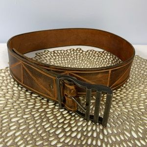 Vintage | Leather Belt with Triangle Design